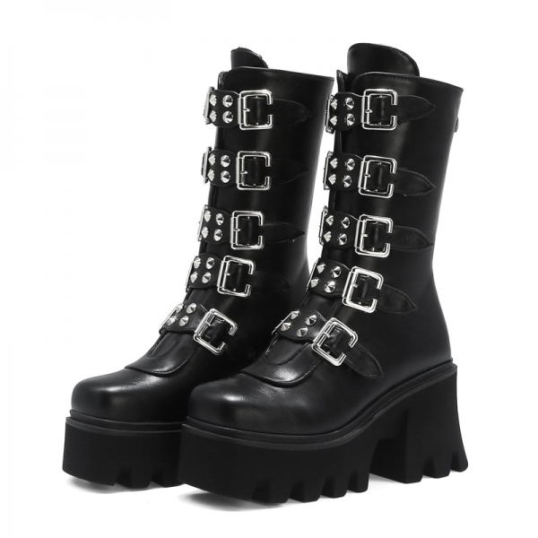 Winter-Gothic-Punk-Womens-Platform-Boots-Black-Buckle-Strap-zipper-Creeper-Wedges-Shoes-Mid-Calf-Military