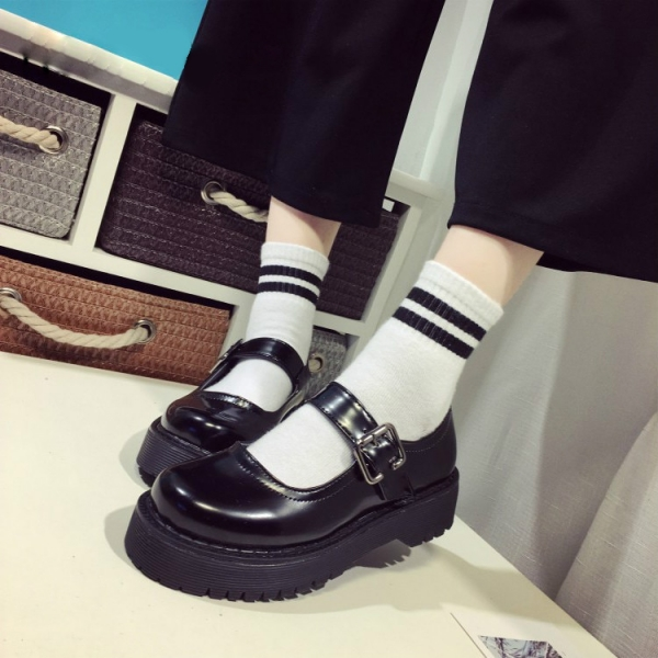 Lolita-Lady-Maid-Uniform-Performance-Buckle-Round-Head-Thick-High-Heel-Muffin-Thick-Sole-Single-Shoe