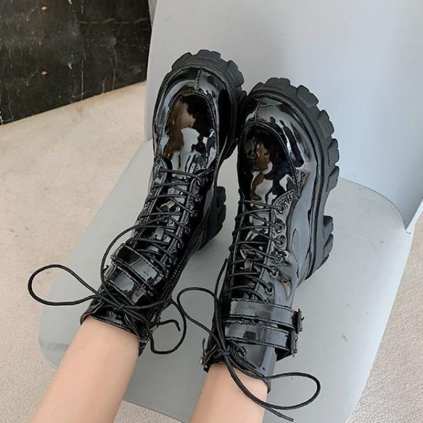 New-Combat-Patent-Leather-Boots-Women-Lace-Up-Gothic-Black-Platform-Leather-Martin-Ankle-Boots-Women